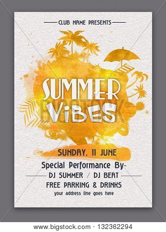 Summer Vibes Template, Summer Party Banner, Musical Party Flyer or Club Invitation design, Creative background with golden splash and various elements.