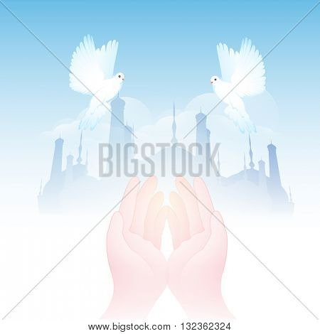 Praying Human Hands in front of Mosque, Beautiful Flying Pigeons on cloudy background for Islamic Festivals celebration.