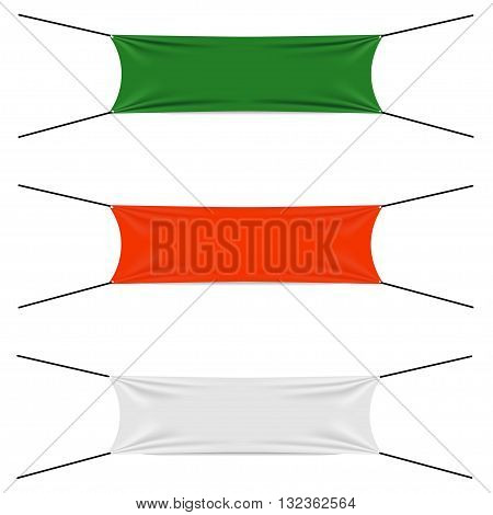 Textile strips set, blank flags different colors, start or finish textile strip, red and green and white textile banners, vector