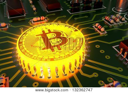 Concept Of Bitcoin Like A Incandescent Processor On Motherboard. 3D Illustration.