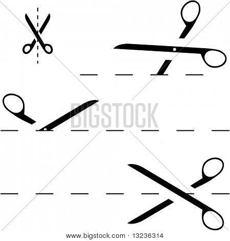 Tijeras de vector con líneas de corte