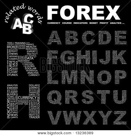 FOREX. Vector letter collection. Illustration with different association terms.