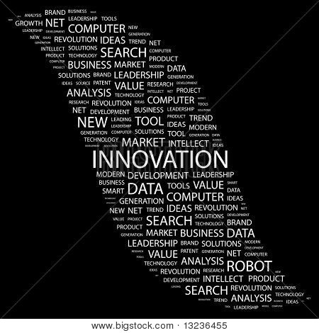 INNOVATION. Word collage on black background. Illustration with different association terms.