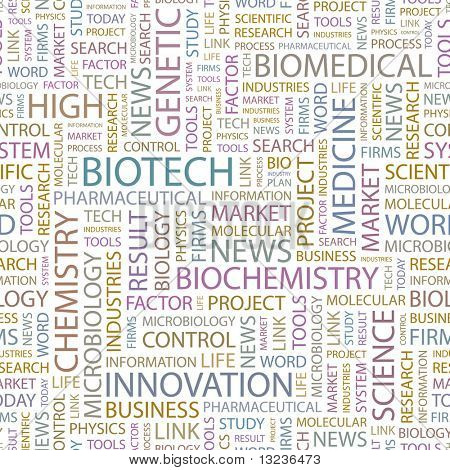 BIOTECH. Seamless vector background. Illustration with different association terms.