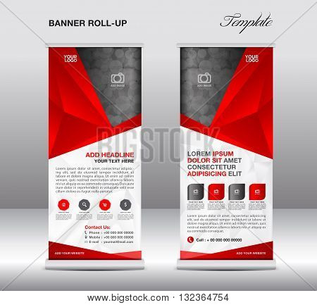 Red Roll up banner stand template stand designbanner template polygon background