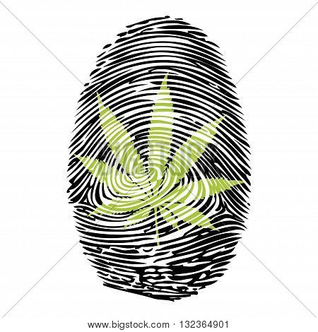 An illustration of a human finger print with the symbol of marijuana.