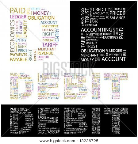 DEBIT. Word collage. Illustration with different association terms.