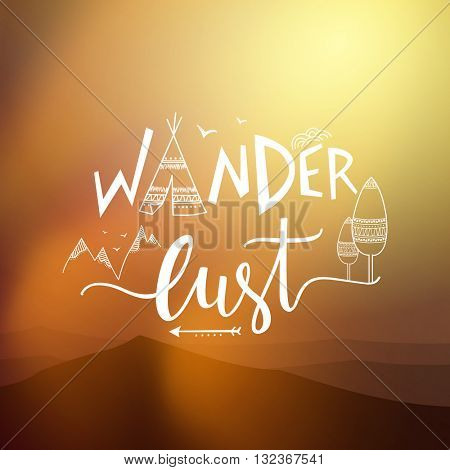 Creative typographic text Wander Lust with ethnic elements on glossy background, Boho style poster, banner or flyer design.