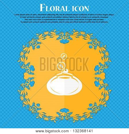 Retro Purse Icon. Floral Flat Design On A Blue Abstract Background With Place For Your Text. Vector