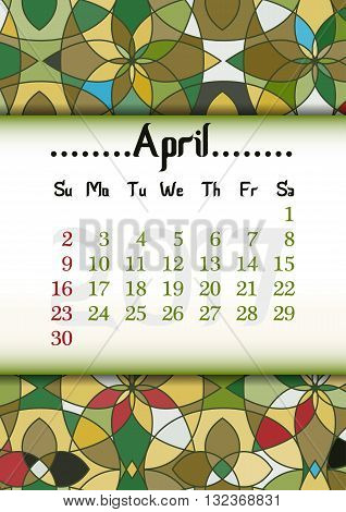 Abstract kaleidoscope background with eastern ornament and dates of spring month April 2017. Vector illustration