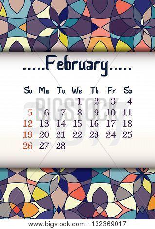 Abstract kaleidoscope background with eastern ornament and dates of winter month February 2017. Vector illustration