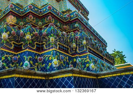 Wat Pho Or Wat Phra Chetuphon,the Temple Of The Reclining Buddha In Bangkok Of Thailand.a Fragment O