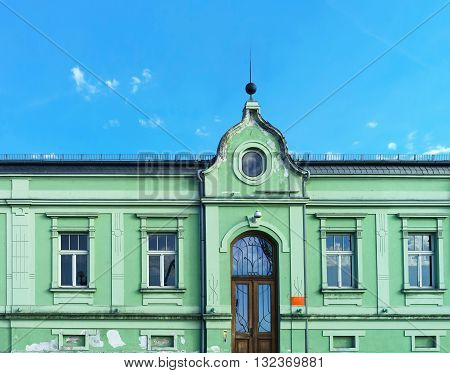 Building Of Green Color In Ventspils In Latvia