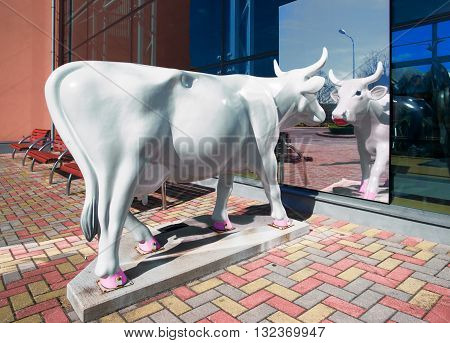 Ventspils Latvia - May 8 2016: Silver Cow Figure in the Street of Ventspils in Latvia. Ventspils is a town in Courland region of Latvia. Latvia is one of the Baltic countries.