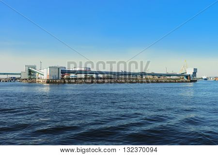Fuel Bunkers And Industrial Factory In Port Of Ventspils