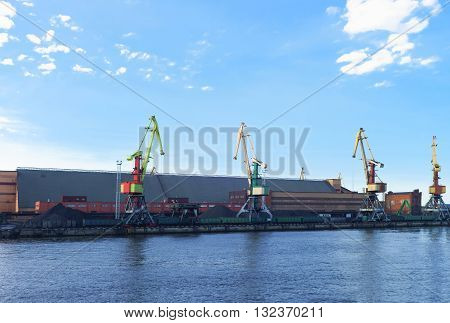 Lifting Cranes At Marina In Ventspils