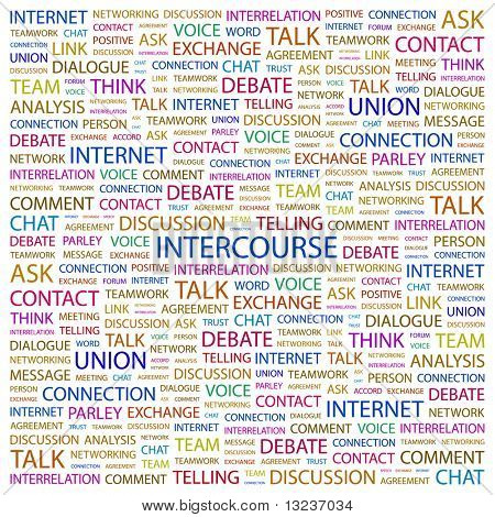 INTERCOURSE. Word collage on white background. Illustration with different association terms.
