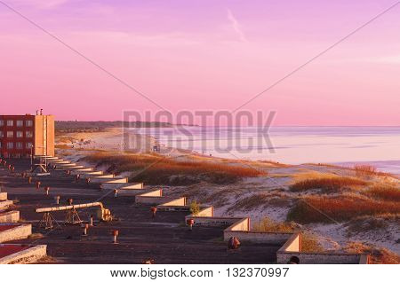 Sunset On The Baltic Sea Of Ventspils In Latvia