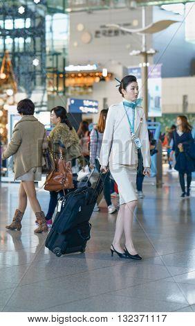 Asian Female Air Flight Stewardess In The Incheon International Airport