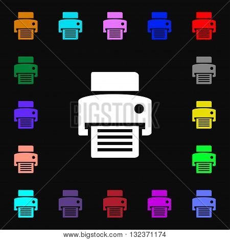 Fax, Printer Icon Sign. Lots Of Colorful Symbols For Your Design. Vector