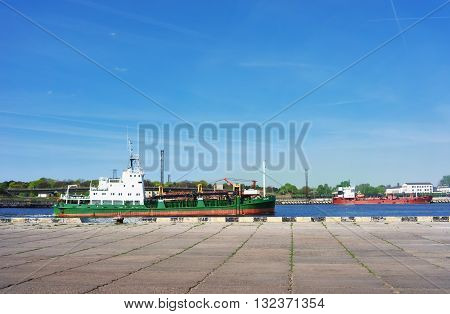 Dry Cargo Vessel At Marina In Ventspils