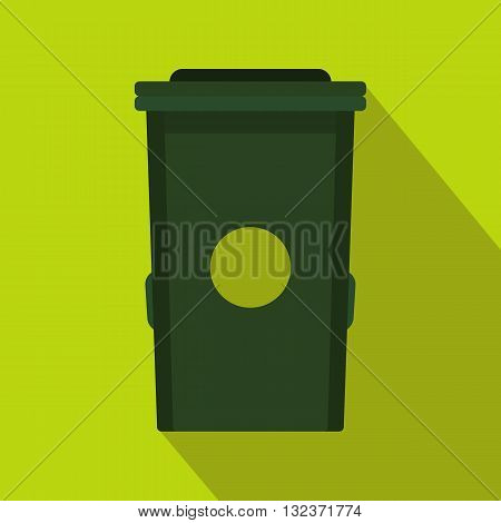 Plastic trash can icon in flat style with long shadow. Waste and sanitation symbol