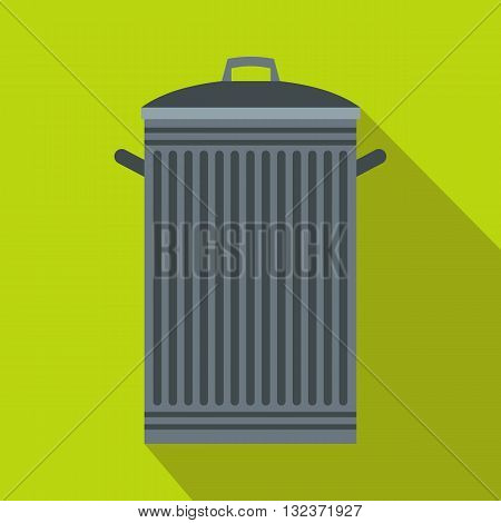 Trash can with lid icon in flat style with long shadow. Waste and sanitation symbol
