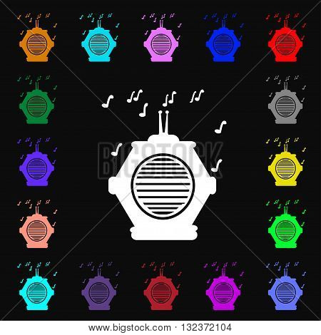 Old Analog Radio Icon Sign. Lots Of Colorful Symbols For Your Design. Vector