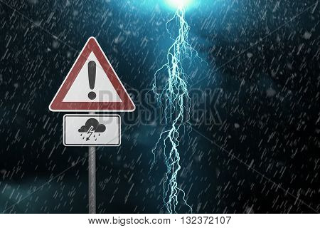 Caution - Thunderstorm - A dark cloudy sky with rain and warning sign