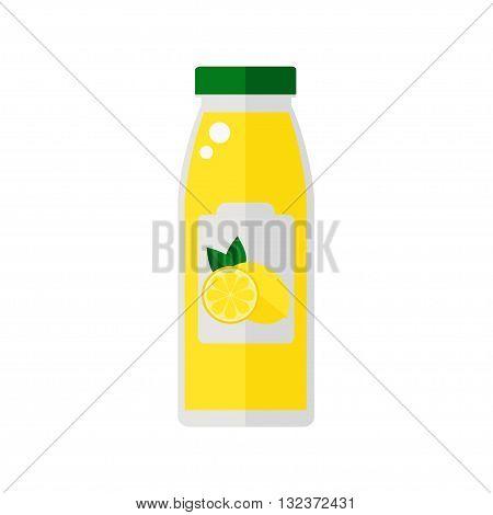Juice icon. Bottle of juice isolated icon on white background. Lemon juice icon. Flat style vector illustration.