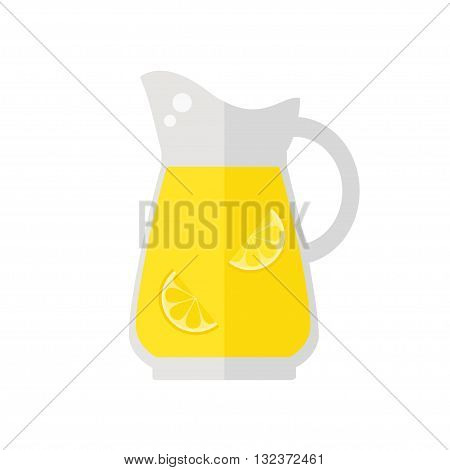 Lemonade Juice jug icon on white background. Fresh juice. Healthy drink. Flat style vector illustration.