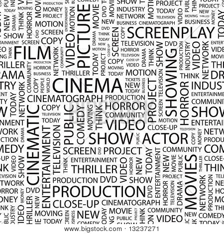 CINEMA. Seamless vector background. Illustration with different association terms.