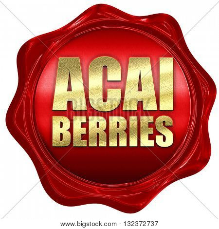 acai berries, 3D rendering, a red wax seal
