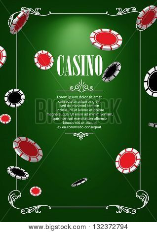 Casino Logo Poster Background or Flyer with Casino or Poker Chips. Banner with Casino Logo Badges. Game Cards on Green Canvas. Playing Casino Games. Casino Banner. Casino Games Gambling Template background.