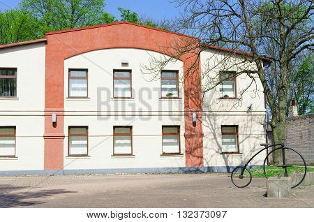 Building And A Bicycle In Ventspils In Latvia