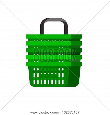 Concept illustration for Shop, supermarket cart. Vector supermarket cart. Healthy eating and eco food in supermarket cart. Vector flat illustration for supermarket.