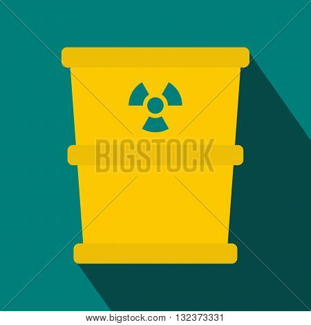 Bucket for hazardous waste icon in flat style with long shadow. Waste and sanitation symbol