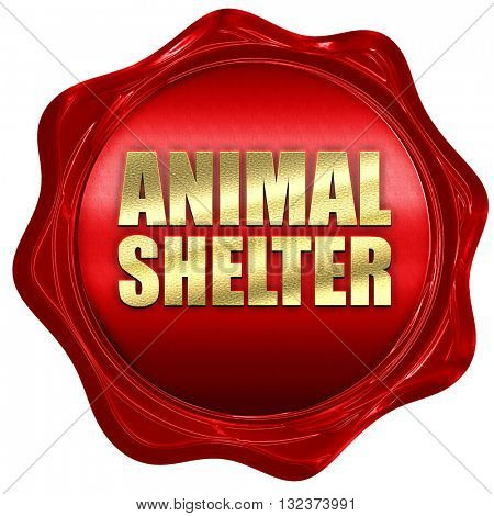 animal shelter, 3D rendering, a red wax seal