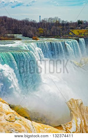 Niagara Falls Viewed From An American Side In Spring