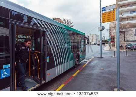 Jerusalem, Israel - February 17, 2013: People Using Metro Bus