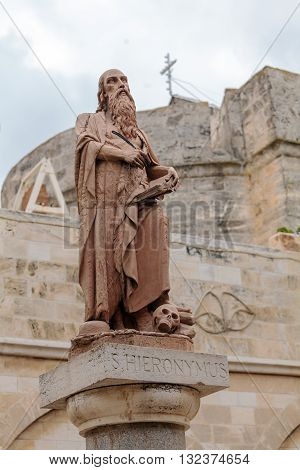 Bethlehem, Israel - February 19, 2013: Saint Jerome Monument