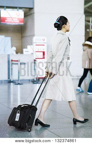 Asian Korean Air Flight Attendant At Incheon International Airport
