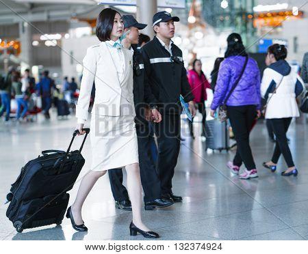 Asian Korean Air Flight Attendant In International Airport Of Incheon