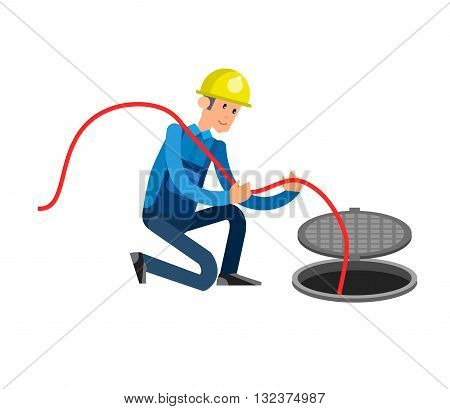 detailed character proffesional plumber men, plumber repair professional, plumber fixing water pipes. Vector plumber set. Illustration plumber character.