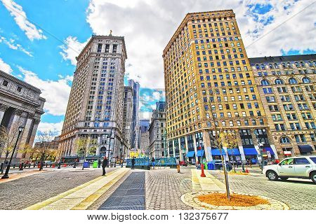 Centre Street view in Civic Center in Lower Manhattan New York City USA. Tourists in the street