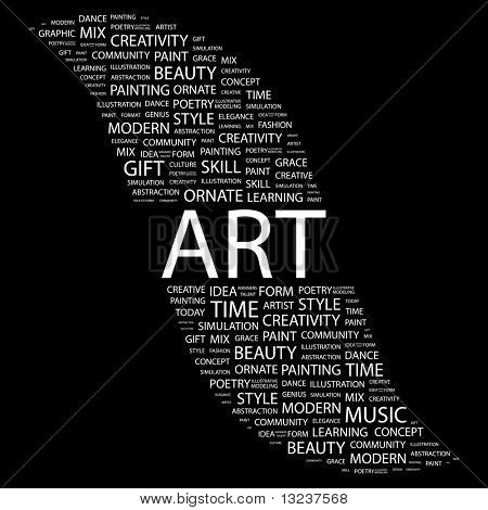 ART. Word collage on black background. Illustration with different association terms.