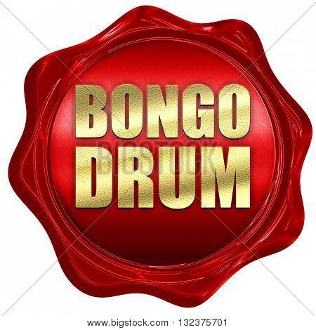bongo drum, 3D rendering, a red wax seal