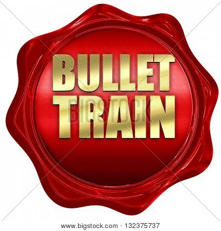 bullet train, 3D rendering, a red wax seal