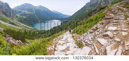 Panoramic view of Morskie Oko lake Tatra Mountains Poland