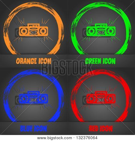 Radio Cassette Player Icon. Fashionable Modern Style. In The Orange, Green, Blue, Red Design. Vector